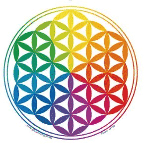 Raamsticker Flower of Life Rainbow