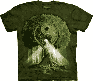 T-Shirt Mountain Artwear Yin Yang Tree Groen M