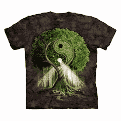 T-Shirt Mountain Artwear Yin Yang Tree Zwart L
