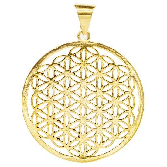 Flower of Life Hanger Messing Goudkleurig (3 cm)