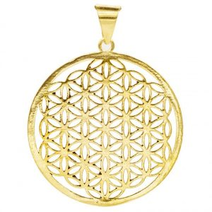 Flower of Life Hanger Messing Goudkleurig (4 cm)
