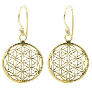 Flower of Life Oorbellen Messing Goudkleurig