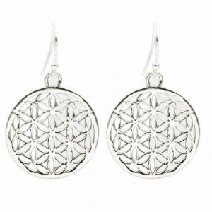 Flower of Life Oorbellen Messing Zilverkleurig