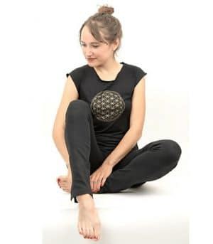 Yoga T-shirt 'Flower of Life' Zwart