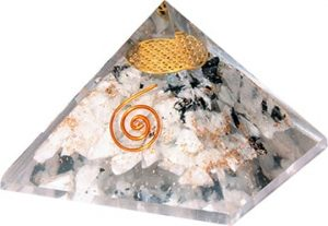 Orgonite Piramide Regenboog Maansteen - Flower of Life - (60 mm)