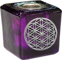 Kaarshouder Cube Purple - Flower of Life