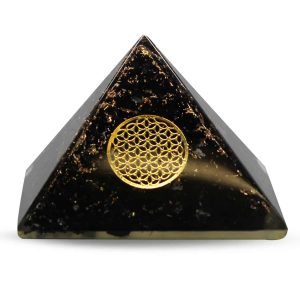 Orgonite Piramide Zwarte Toermalijn  - Flower of Life - (60 mm)