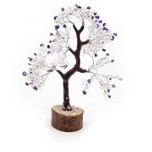 Edelsteenboom Amethist en Bergkristal (25 cm)