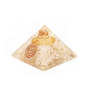 Orgone Piramide Bergkristal met Flower of Life (70 mm)