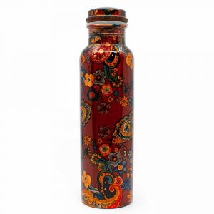"Koperen Waterfles ""Orange Flowers"" - 900 ml"
