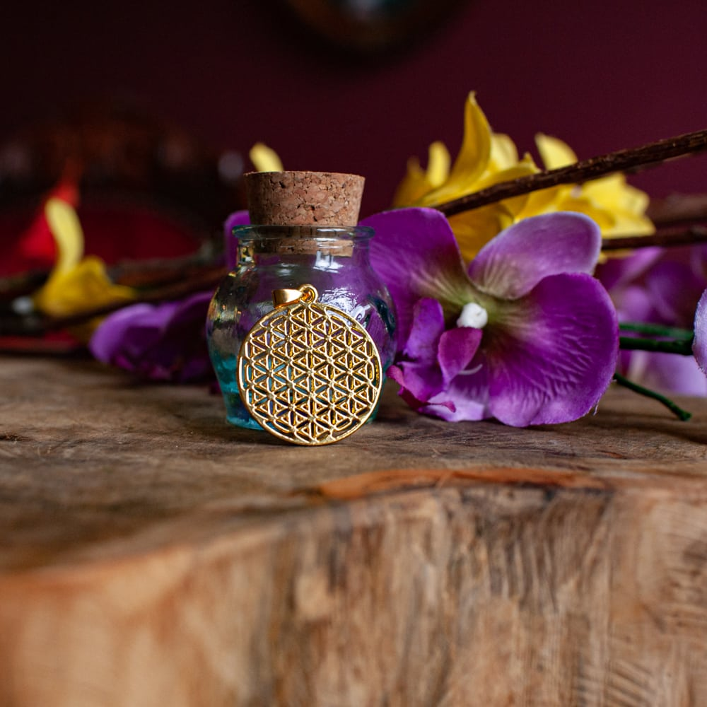 flower of life hanger in het goud