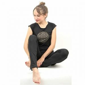 Yoga T-shirt 'Flower of Life' Zwart S