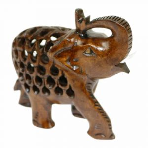 Houten Olifant Groetend Naturel (Medium)