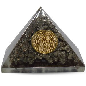 Orgone Piramide Pyriet met Flower of Life (40 mm)