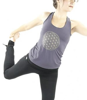 Yoga Top 'Flower of life' Donkergrijs S