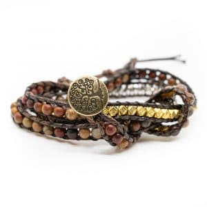 Bohemian Rode Agaat Wikkel Armband met Tree of Life