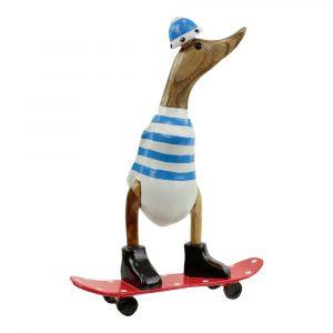 Houten Beeld Eend op Skateboard Lichtblauw (28 x 20 cm)