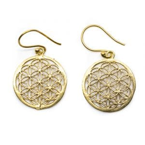 Flower of Life Oorbellen Messing Goudkleurig (20 mm)