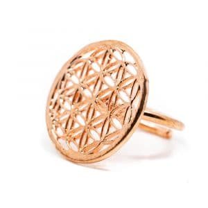 Verstelbare Ring Flower of Life Koper