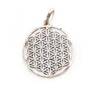 Flower of Life Hanger Messing Zilverkleurig (3 cm)