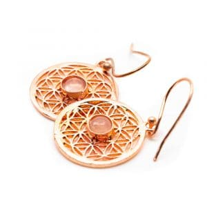 Oorbellen Flower of Life Rozenkwarts Koper (20 mm)