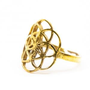 Verstelbare Ring Flower of Life Goudkleurig
